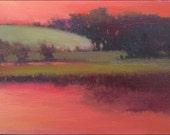 Red sky, frosty hill - Original landscape oil painting by Lynne Windsor 5 x 7 in / 12.7 x 17.78 cm