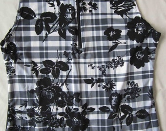 Fashion Plaid with flower women's sleeveless cycling jersey - Small