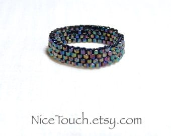 SUMMER SALE!!! Free Shipping or Save 20% ~ Wizard's Spell rainbow black beaded ring ~ Made to Order