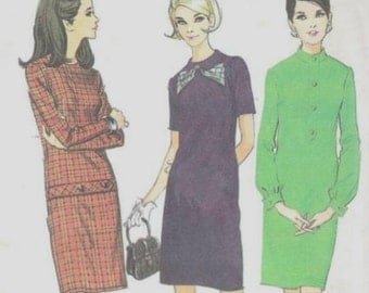 1960s Slim Dress Round Neck Long or Short Sleeves McCall's 8912 Uncut Factory Folds Size 10 Bust 31 Women's Vintage Sewing Patterns