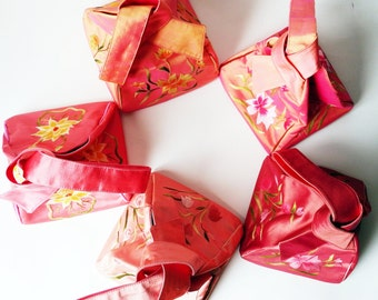 Silk Bridesmaid Bags- Bundle of Vintage Pink Purses - Pink Tints in Silk - Hand Embroidered Evening Bags - Wedding Party