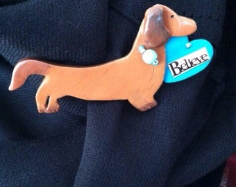 Dachshund Dog Brooch/ Handcrafted Wearable Art