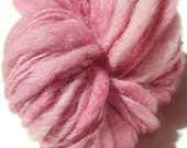 "Super Bulky Yarn Handspun Alpaca and Wool 110 Yards Thick and Thin Hand Dyed  "" Petal  "" Pink Doll Hair Knitting Crochet (2 skeins avail.)"