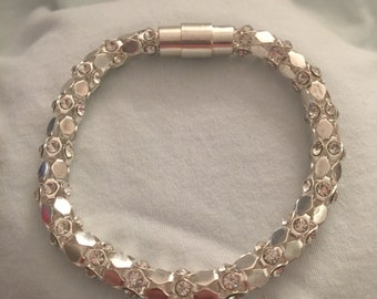Silver Rhinestone Tube Chain Bracelet