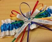 butterfly Wedding Garter beautiful vibrant Rainbow design, rainbow garter, rainbow wedding