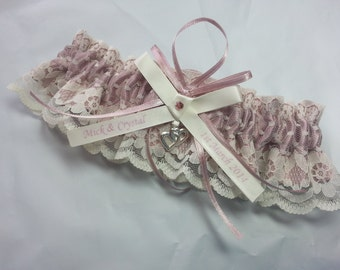 Dusty Pink Wedding Garter, beautiful personalized dusty rose satin and Ivory Lace with linked heart