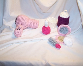 Crochet make up play set any colors you want The one pictured is READY TO SHIP