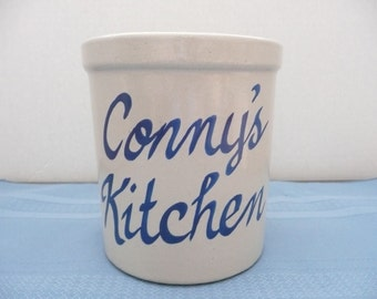 """CLEARANCE - Roseville Pottery Utensil Crock with """"Conny"""""""