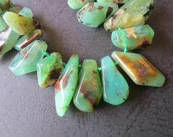 As Pictured- Brown Green Chrysoprase Spike Point beads 4x7x13mm 7x9x28mm -Top Drilled- 50pcs