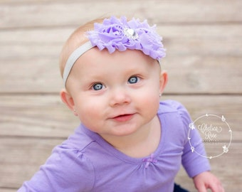 Lavender and silver headband, lavender hairband, purple silver headband, silver headband, lavender baby headband, purple baby headband
