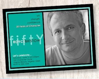 Years of Character | custom adult birthday party photo invitation, milestone birthday invite, grownup picture invite - Printable Design File
