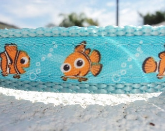 "Small Dog Collar Disney Nemo 3/4"" wide Quick Release buckle adjustable - see 1"" width within"
