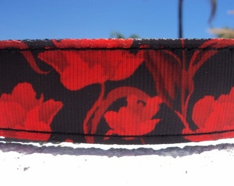 """Sale Dog Collar Wild Red Poppy 1"""" wide Quick Release buckle or Martingale collar style adjustable"""