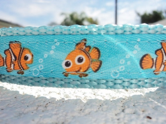 """Small Dog Collar Disney Nemo 3/4"""" wide Quick Release buckle adjustable - see 1"""" width within"""