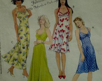 Halter Sundress Pattern, Laura Ashley, Flared Skirt, Gathered Bustline, Princess Seams, McCalls 4444 Size  4 6 8 OR 8 10 OR 12 14 16 18