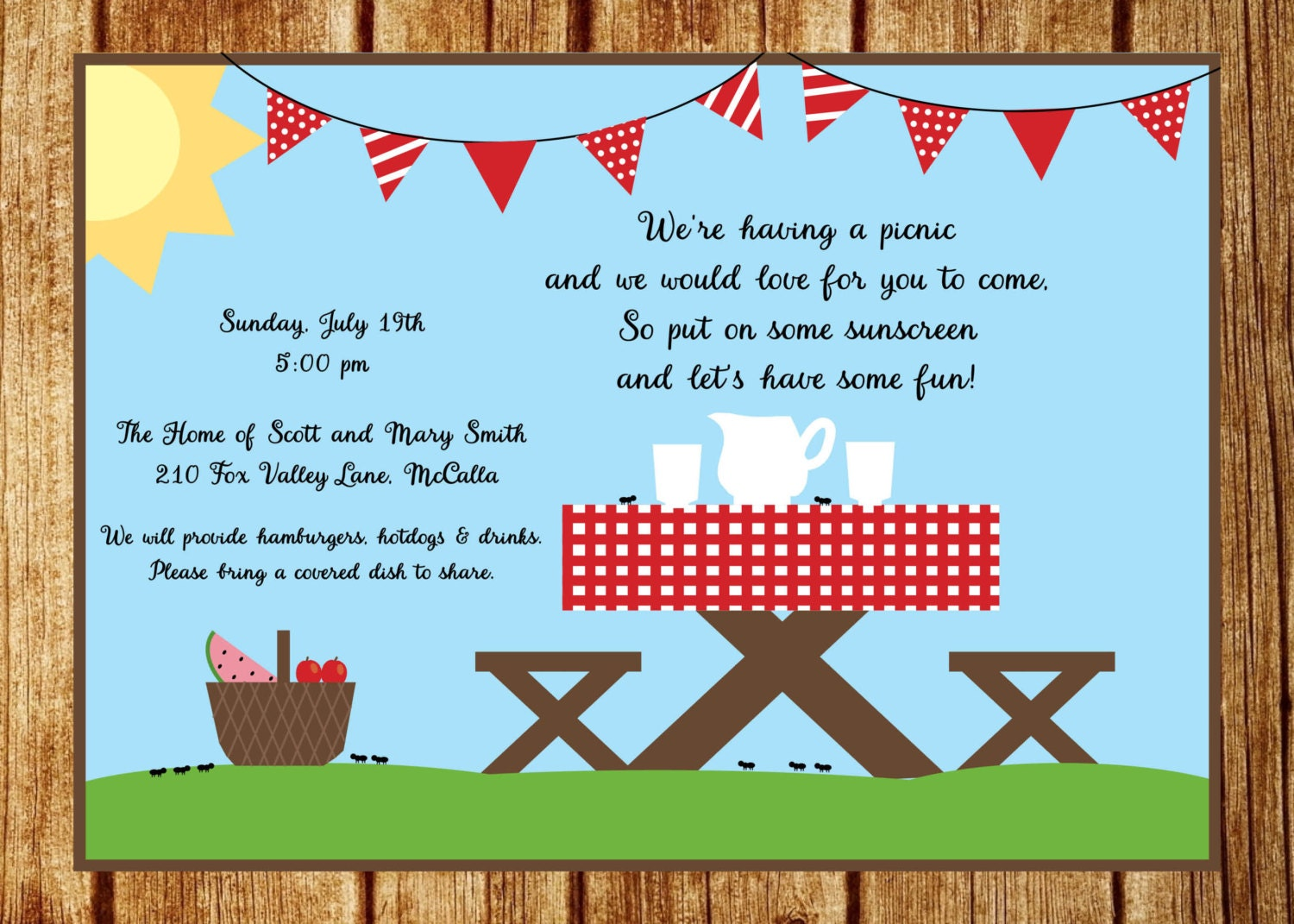 Picnic Invite Pertaminico - Class party invitation template