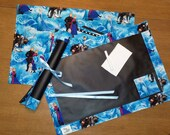 FROZEN themed Chalkboard Placemat with eraser and chalk. Rolls up for travel!