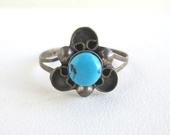 925 Sterling Silver Ring - Vintage Mexico w/ Blue Stone - Size 5 1/2