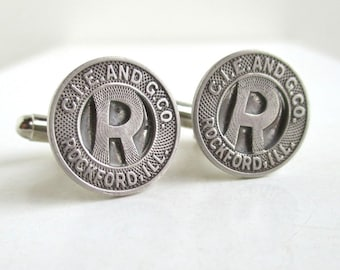 ROCKFORD, IL Token Cuff Links - Silver, Vintage Coin