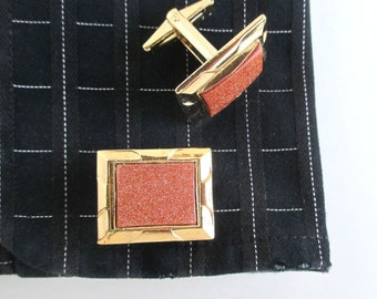 Goldstone & Gold Cuff Links - Vintage, Unused