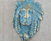 AWESOME Indian Head Turquoise Blue Patina over Gold Pewter Pendant