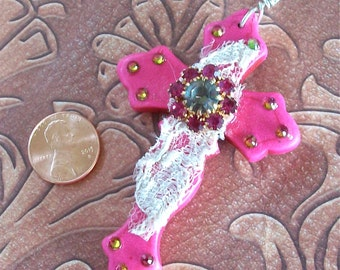 CROSS Bright Pink Curvy Howlite Stone with Vintage Lace, Vintage Jewel, and Bling OOAK