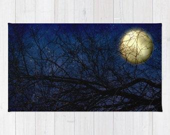 Art area Rug Blue Moon photography home decor photograph Navy Royal Blue sky photo throw rug full moon nursery rug nature skyscape stars