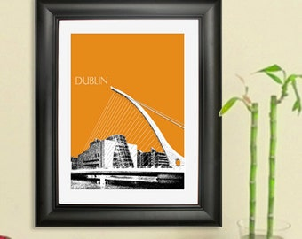 Dublin Skyline Poster #2 - Samuel Beckett Bridge - Dublin Ireland City Skyline Art Print - 8 x 10 Choose Your Color