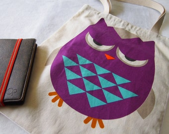 Tote bag , Big Fat Owl Tote bag for iPad / iPad Air / MacBook Air / Beach bag