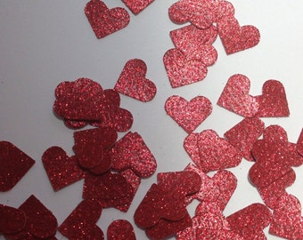 Red Glitter Heart Table Scatter, Red Heart Confetti, Red Heart Die Cut, Valentines Day Decor, Wedding Decor, Heart Decoration - 150pcs