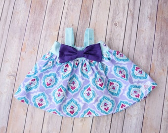 Rachel Swing Top - Blue Floral with Purple Bow Detail  Size 6