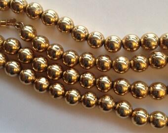 Vintage Napier Gold Tone Bead Necklace
