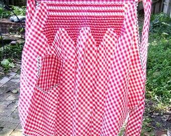 Hostess Apron - Red and White Check - Gingham - Smocking - Rick Rack Trim  - Circa 1950s