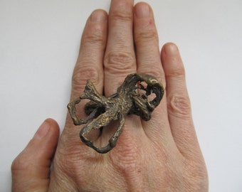 Bronze ring, Cast ring, Burlap into Bronze cast ring, statement ring