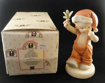 Mistletoe Boy How About A Little Kiss Memories of Yesterday Bisque Figurine