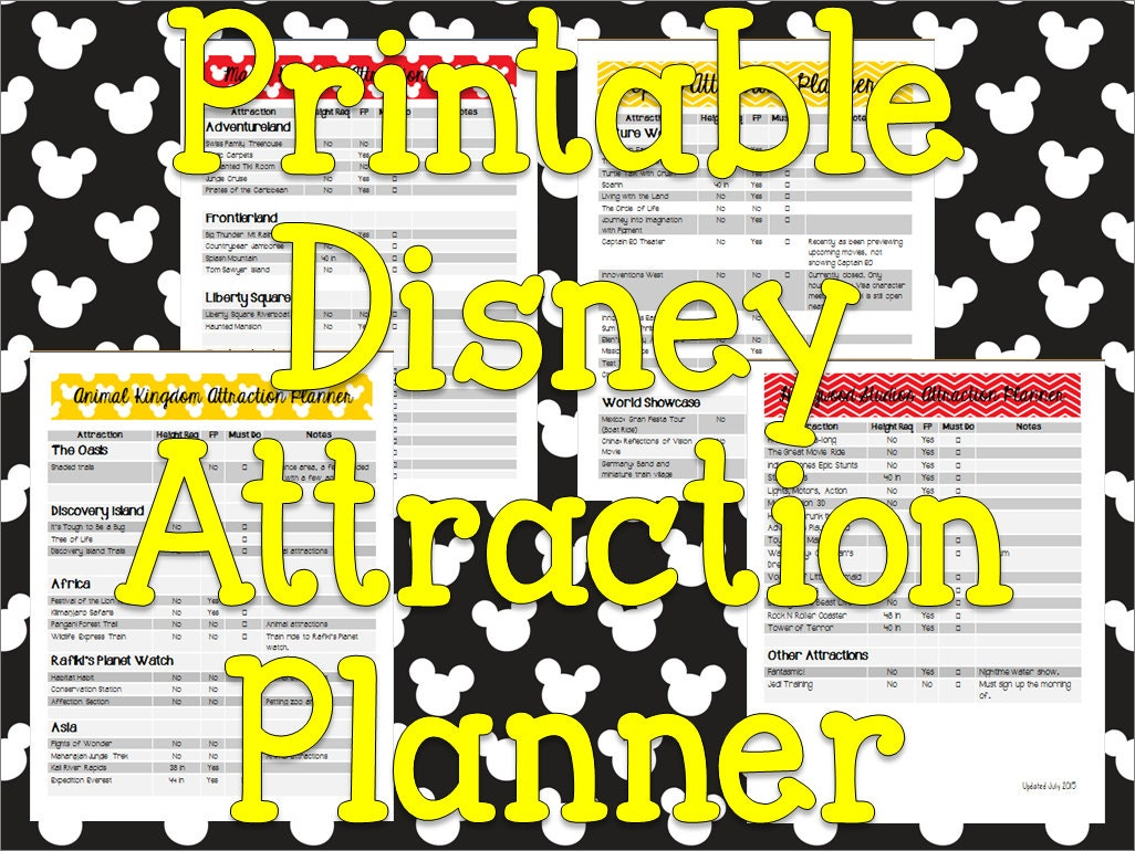 Instant Download Printable Disney Planner Attraction List And