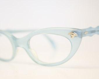 Baby Blue cat eye glasses fade vintage eyeglass frames
