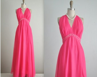 70's Chiffon Gown // Vintage 1970's Hot Pink Chiffon Rhinestone Halter Evening Prom Gown Maxi Dress S