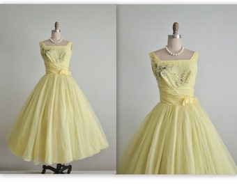 50's Beaded Dress // Vintage 1950's Beaded Lemon Chiffon Wedding Prom Dress XS