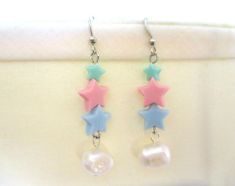 Magical Girl STAR Earrings - Fresh Water Pearls & Pastel Stars!