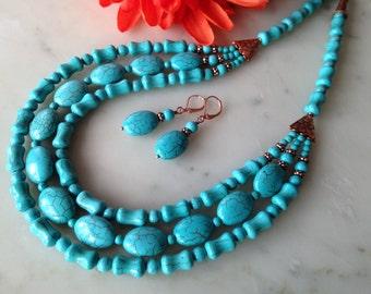 BLUE CARIBBEAN_turquoise cascade necklace set, statement, multi-strand, chunky, genuine copper, big,bold, handmade, natural gemstone, beaded