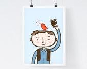 Bird Radio - Art Illustration Print