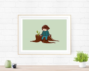 Sprout - Art illustration print, kids wall art, nursery print