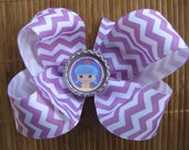 2662 orchid and white chevron boutique bow with LaLaLoopsey bottlecap