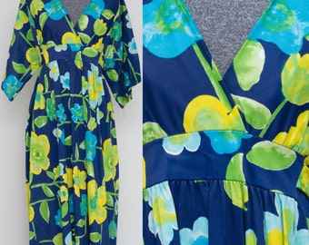 Navy Floral 70's Maxi Dress