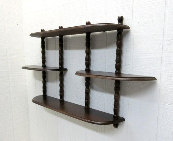 vintage wooden wall hanging curio display shelf 3 tier. Black Bedroom Furniture Sets. Home Design Ideas