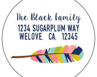 custom address labels, feather address stickers, tribal feather address labels, rainbow feather address labels, set of 20