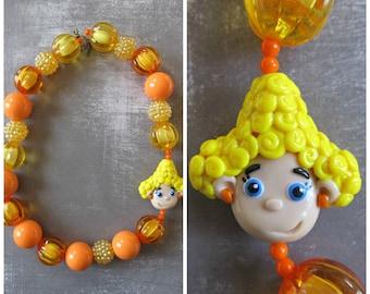 Bubble guppies necklace, Deema clay pendant chunky necklace, bubblegum necklace