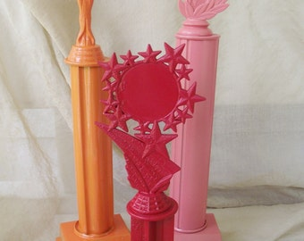 Trophy Set Red Orange Salmon painted award home accent photo prop decoration office wedding decor grooms cake table college high school