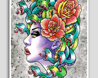 18x24 inch Pop Art Poster - Medusa - Traditional Old School Tattoo Art - Snakes Girl and Roses Pretty